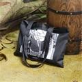 Free Shipping Black with Cartton Pattern Canvas Large Shopping Bags Women Handbags Shoulder Bags Shopping Bag ZZ348