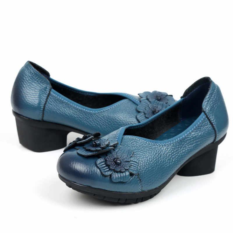 BEYARNE נעלי נשים עור אמיתי נעלי 2017 סתיו אופנה נעלי החלקה רך תחתון סנדלי נשים קיץ נעלי למתנה