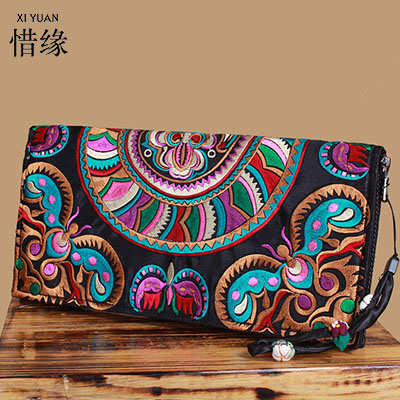 XIYUAN BRAND New style women wallets Yunnan embroidered ethnic characteristics wallet purse girl long clutch hand bags for money ethnic embroidered black cami dress for women