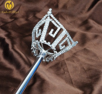 Unisex King Queen Silver Sceptre Parade Pageant Party Costumes Rhinestone Long Scepter Wand Handheld Prop Staff Accessories