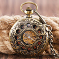 Mechanical Pocket Watch Brass for Men Women Twelve Hollow Circles Hand Winding Exquisite Copper Luxury Stylish Nurse Clock Gift