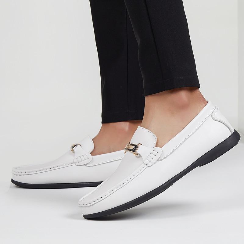 Na Sapatos white Moda Genuínos Sapata Homem Masculino Deslizamento Para Mocassins Condução Branco Couro Casuais Homens Novos Preto Clássico Da De Black Vaca 2019 wqnxSUpIB