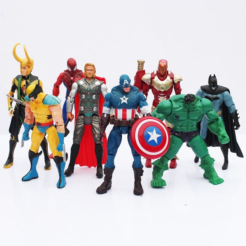 New 8pcs lot The PVC Model Figure Toys With LED Spider man Hulk Thor Superman Captain