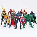 Novo 8 pçs/lote The Avengers PVC Modelo Figura Brinquedos Com LED Spider man Hulk Thor Capitão América Superman Figura Brinquedos