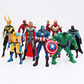 Nuevo 8 unids/lote The Avengers PVC Figura Modelo Juguetes Con LED Spider man Superman Hulk Thor Capitán América Figura Juguetes