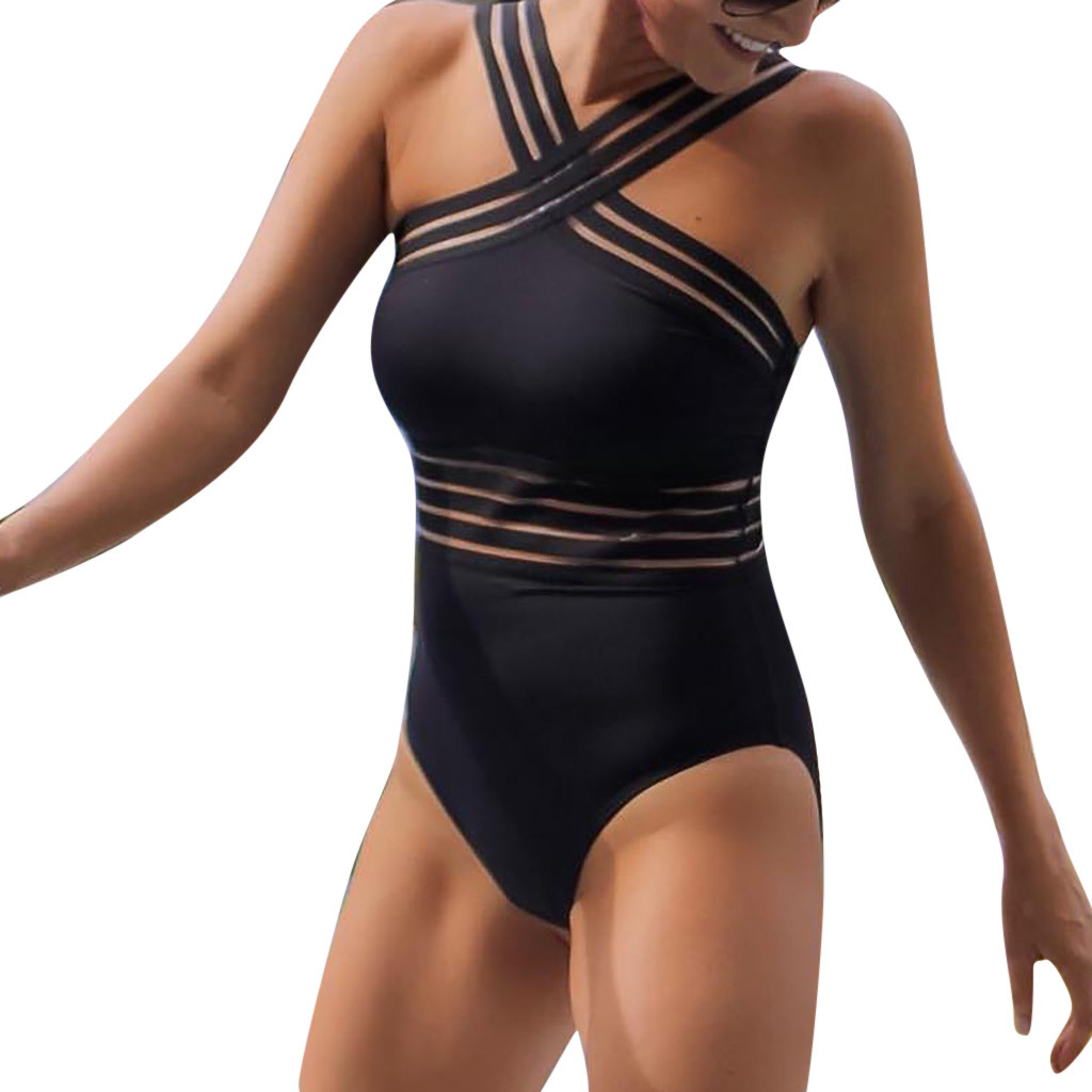 Swimsuit Women 2019 Sexy One Piece Swimsuits Halter High Waist Black Swim Suits Sport Swimsuit Women Summer Beach Sweemwear