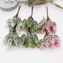 6 piezas color cono de pino flor artificial piña Planta artificial boda decoración del hogar DIY álbum de recortes caja de regalo artesanía flor
