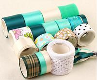 Green Style DIY Handmade Tapes Hair Accessories Printed Grosgrain Satin Ribbon Chiffon Cotton Lace Mixed 20YDS Ribbon Set N-27