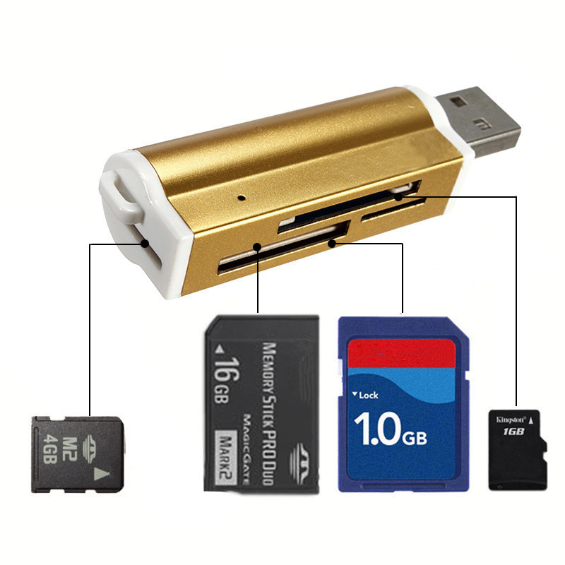 High Quality USB 2.0 Multi All In 1 Memory Card Reader For Micro SD MMC SDHC TF M2 Memory Stick MS Duo RS-MMC +Retail Packag