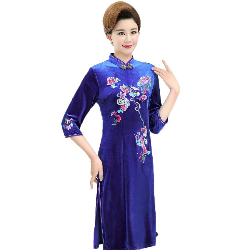 Femmes Oriental velours Robe rouge bleu violet fleur broderie Qipao robes Femme mandarine col velours Robe Femme Cheongsam XL