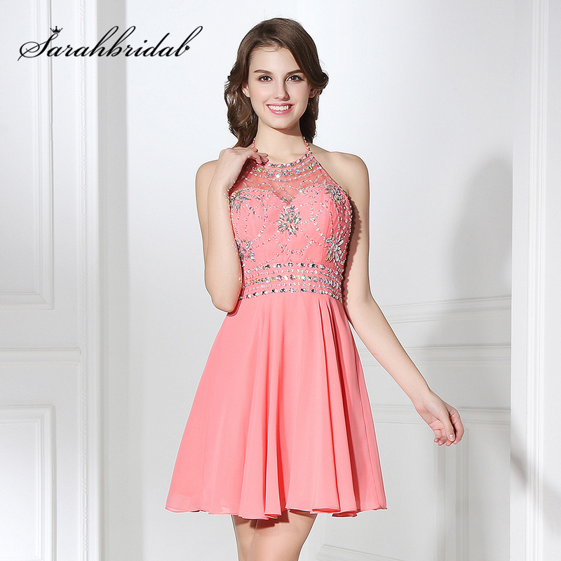 Sexy Halter A-Line Homecoming Dresses Short Chiffon Crystal Backless Cocktail Party- ի զգեստները ավարտականության համար էժան Առկա է OS394