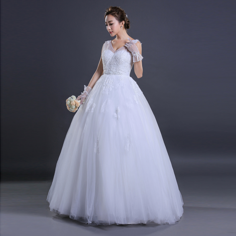 Online Shop Real Photo White Wedding Dresses 2015 V Neck Tank Dress Tulle Lace Ball Gown Sequined Vestidos Bridal