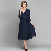 Marineblau Günstige Chiffon A-linie Mutter der Braut Kleider Plus größe Tee Länge Mutter des Bräutigams Kleid Abend Partei Dreses M20
