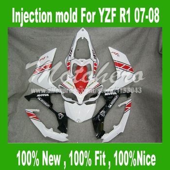100%Fit injection red white fairing kit for Yamaha YZF R1 2007 2008 YZF R1 07 08 YZF-R1 07-08 YZF1000 R1 07 08 fairings parts
