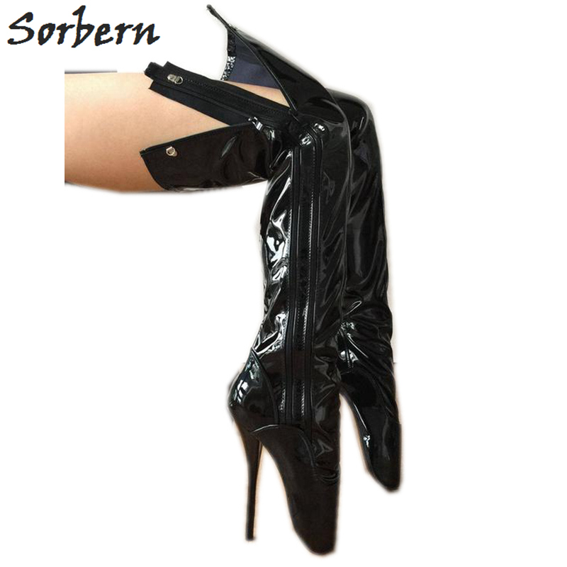 Sorbern <font><b>Sexy</b></font> Fetish Boots For Women <font><b>Shoes</b></font> Ballet Stilettos Heels Unisex Boots <font><b>Size</b></font> <font><b>11</b></font> Mid Thigh High Boots Double Zipper Boots image
