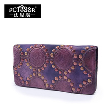 2016 Vintage Handmade Women Long Wallet Rivets Genuine Leather Clutch Card Holder Case Purse