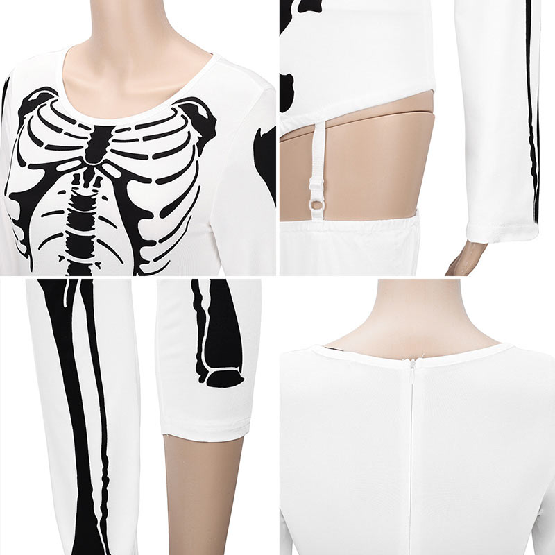 Women Halloween Jumpsuits Costumes Ghost Festival Horror Skeleton Conjoined Gowns Party Sexy Performance Rompers Cosplay Clothes (33)