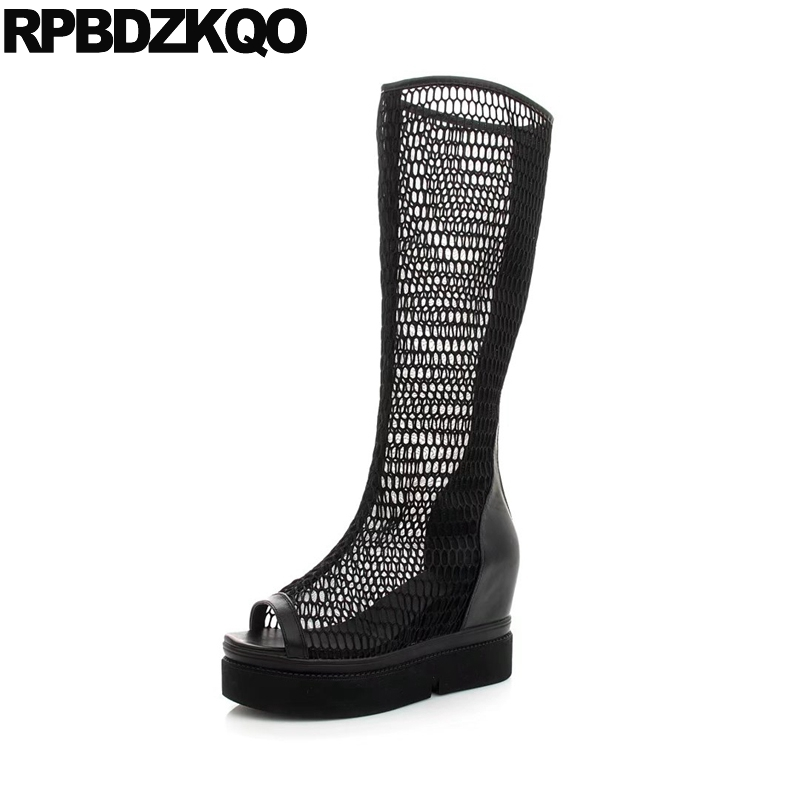 Peep Toe Muffin Mesh Black Shoes Summer Boots Platform Height Increased Extreme Women High Heel Casual Wedge Knee Cut Out New muffin wedge high heel stretch women extreme fetish casual knee peep toe platform summer black slip on creepers boots shoes