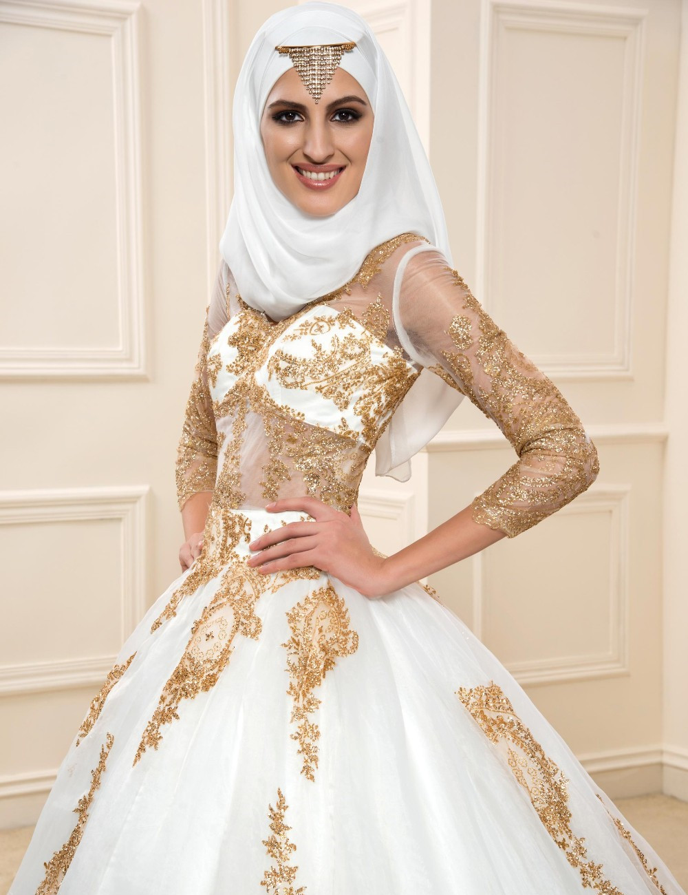 Gold Lace Muslim Wedding Dresses With Sleeves 2017 See Through ...