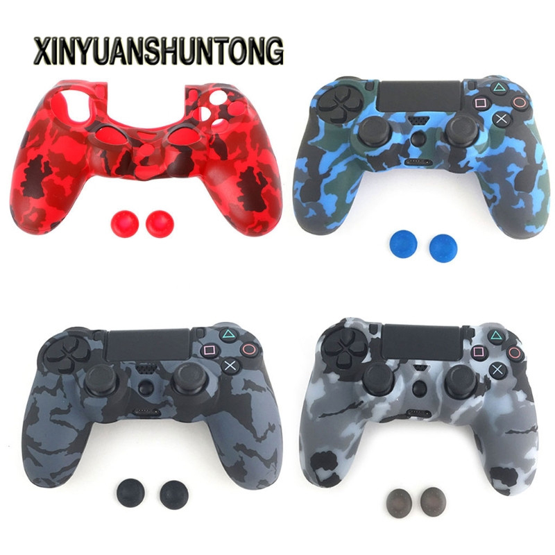 XINYUANSHUNTONG Game Case Soft Camouflage Silicone Cover + 2 Thumbstick Caps For PS4