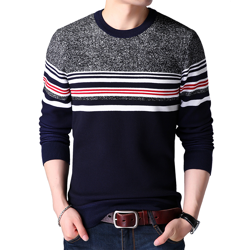 Mens sweaters wool warm pullovers Autumn Winter Tops knitted Long Sleeve Round Neck Male Printed stitching Sweater Clothing 4XL