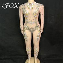 2019 Colorful Rhinestones Mesh Sexy Jumpsuit Women's Birthday Celebrate Bodysuit Outfit Stage Costume Nightclub Dance Leggings sparkly gold crystals pink pearls jumpsuit stones stretch bodysuit women s birthday celebrate sexy stage costume leggings
