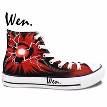 Wen Anime Shoes Hand Painted Design Custom Naruto Shippuuden Kakashi Syaringan Men Women's High Top Canvas Sneakers