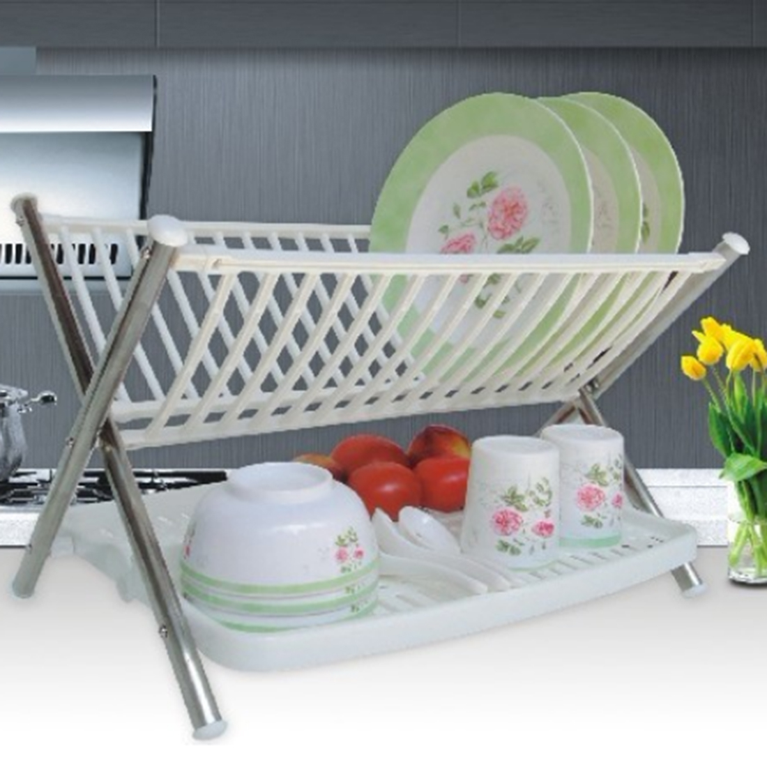 Tiers compact dish rack kitchenware dish drying rack dish drainer - Plastic Kitchen Utensil Double Layers Dish Rack Collapsible Compact Dish Drying Drainer For The Kitchen