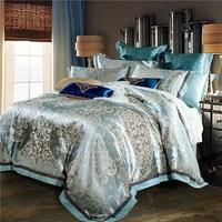 หรูหราjacquardผ้าไหมผ้าปูเตียงสีฟ้าสีแดงสีชมพู