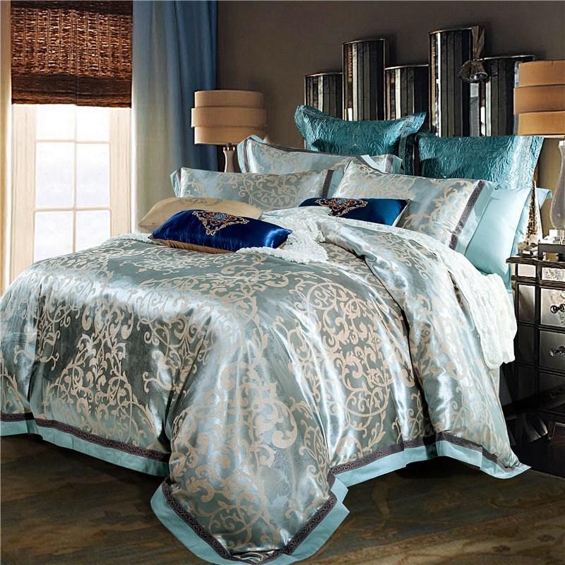 TUTUBIRD Luxury jacquard silk bed linen blue red pink silver gold satin bedding set queen king size duvet cover sheet set 4pcs