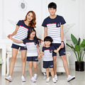 Unisex Family Look Matching Clothing Outfits Cartoon Striped Summer Short-sleeve T-shirt Tops For Mother Daughter And Father Son