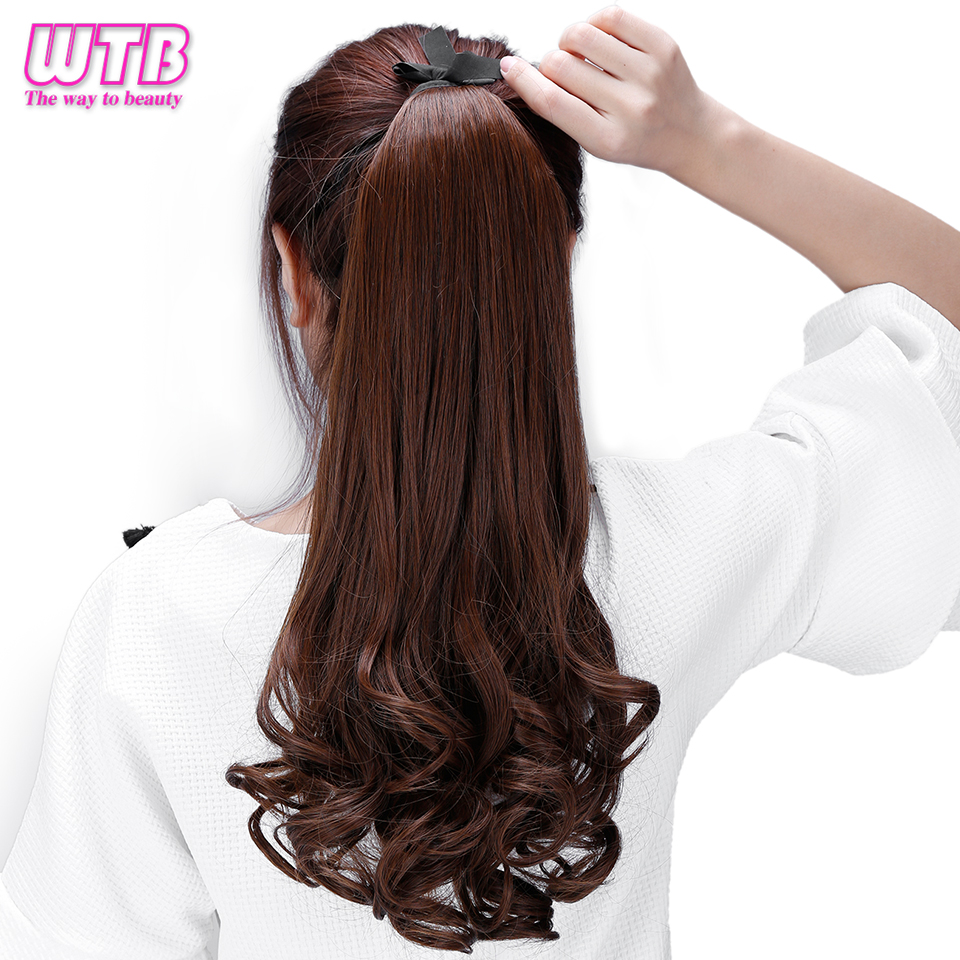 Big Sale Wtb Lady Wavy Ponytail Wigs Long Curly Natural Color Clip