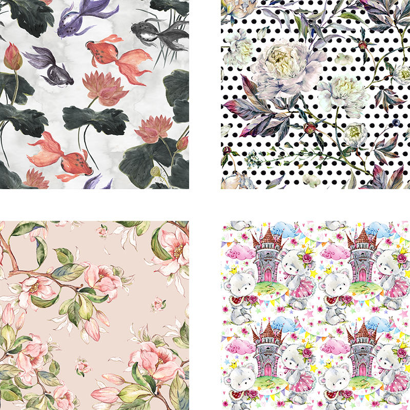 100% Polyester fabric Custom 3D Digital printing cloth thin floral fabric for girl dress fabric diy clothing patchwork fabric image