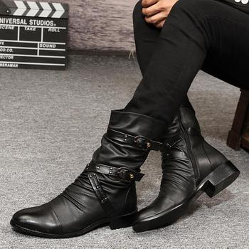 England fashion mens breathable soft leather boots buckle design rivets shoes pointed toe short boot spring autumn zapatos male