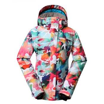 Outdoor genuine lady pink ski suit camouflage waterproof windproof jacket cotton 1410-018 women wear