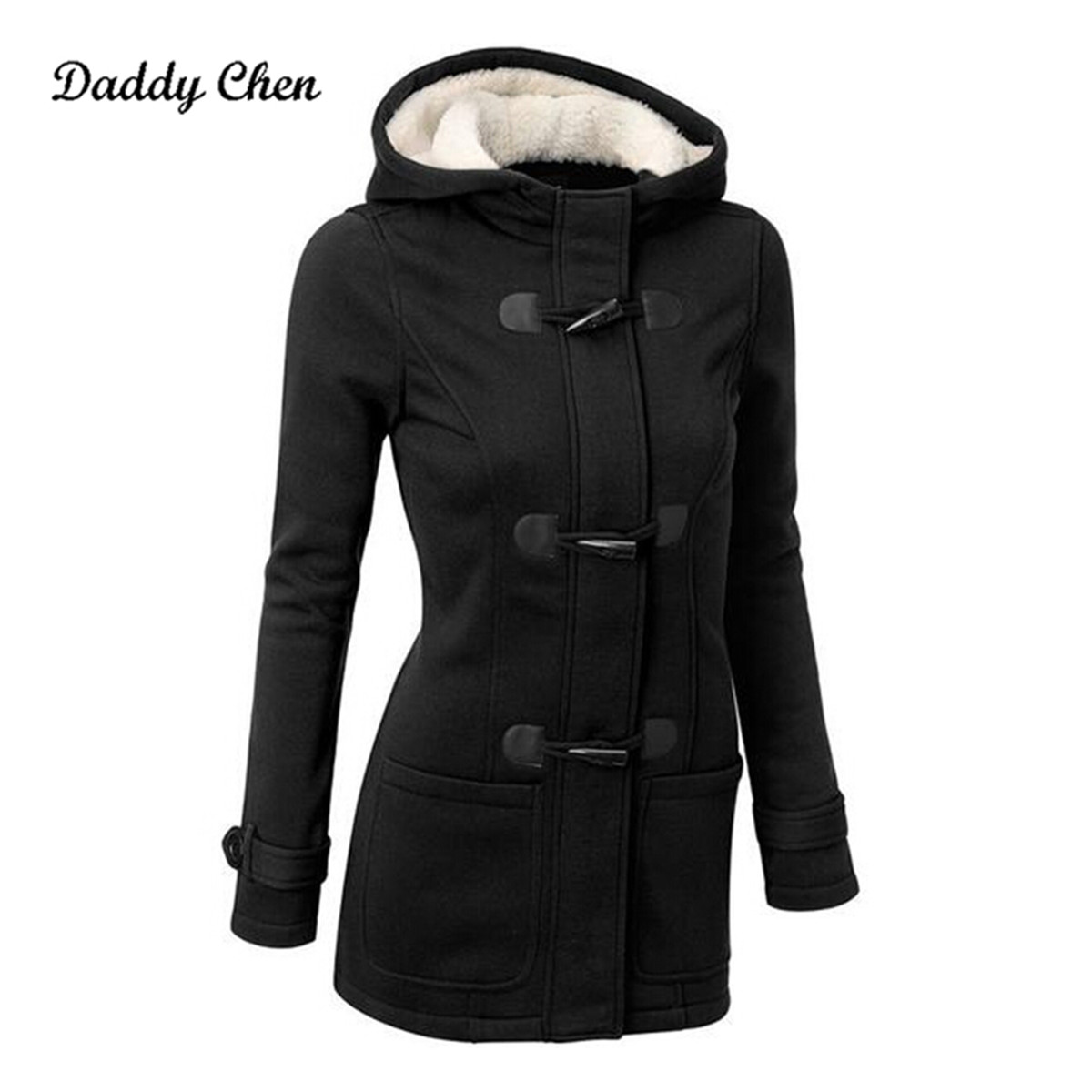 Fashion Long   Trench   Coat for Women Female Long Hooded Horn Button Outwear Trenchcoat Spring Winter Overcoat Chaquetas Mujer