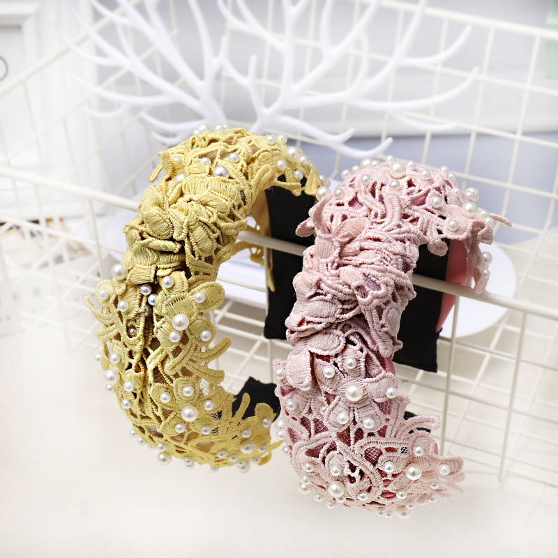 Vintage Flower Lace With Pearl Knotted Hairband Knot Headband Hair Accessories Hair Jewelry