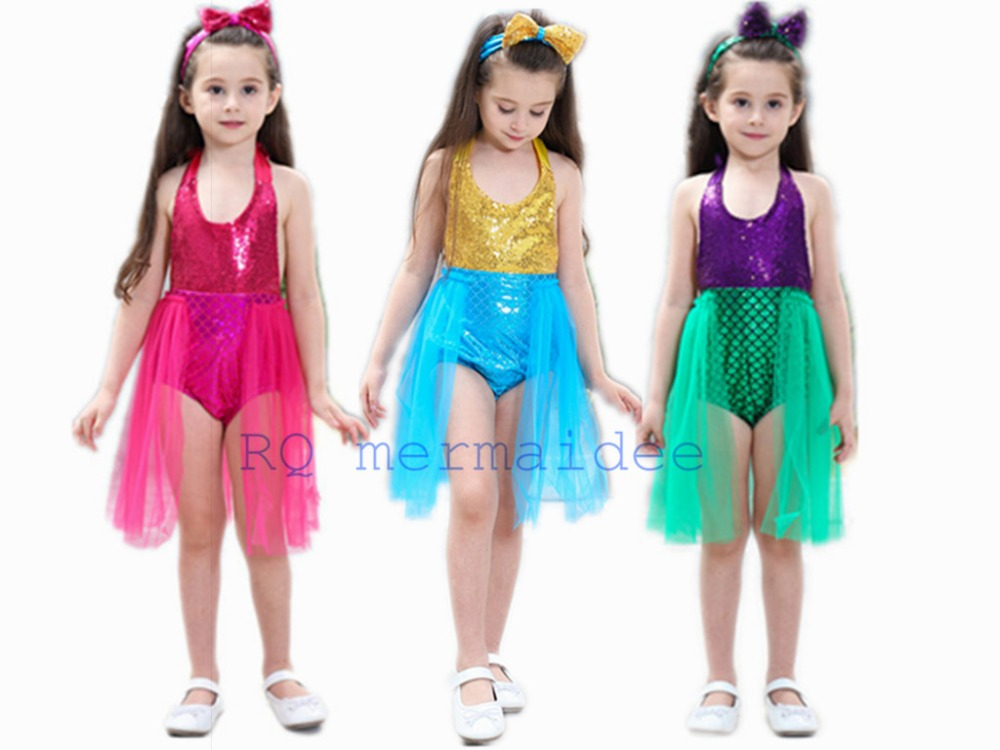 Kids Girl/'s The little mermaid tail princess ariel dress cosplay costume T3-7