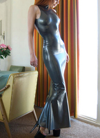 Fashion women silver sleeveless Latex gownsCelibrity dresses to ankle length sexy rubber prom vestidos plus size hot sale