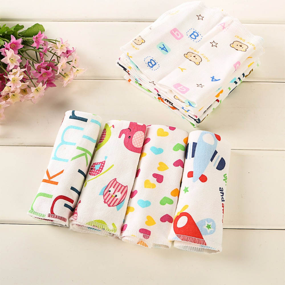 6Pcs Baby Cartoon Towels Baby Boy Girl Handkerchief Bathing Feeding Face Washcloth Wipe Cloth