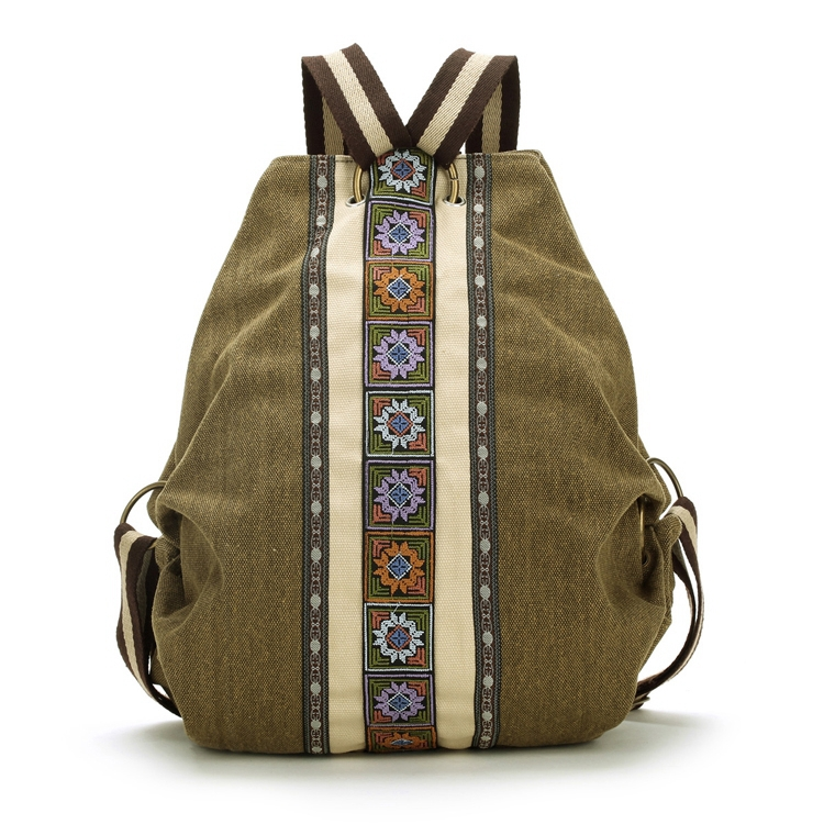 High Quality sac a dos Ethnic Vintage Canvas Backpacks for Women Embroidered Rucksack Drawstring Bag School