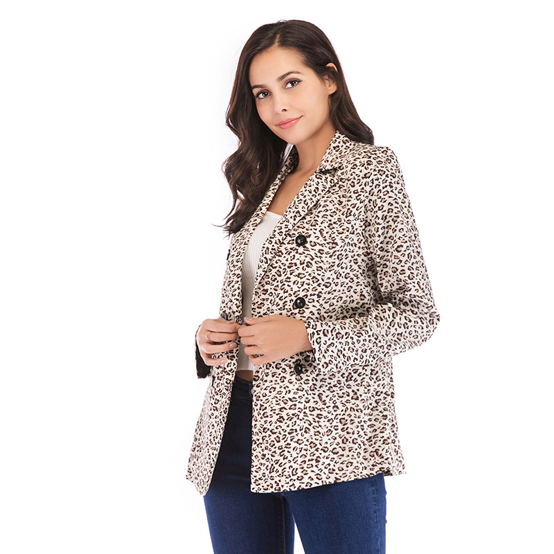 2019 New Arrival Ladies Casual Leopard Print Blazer Double Breasted Blazer Women Elegant Animal Pattern Suit Jacket