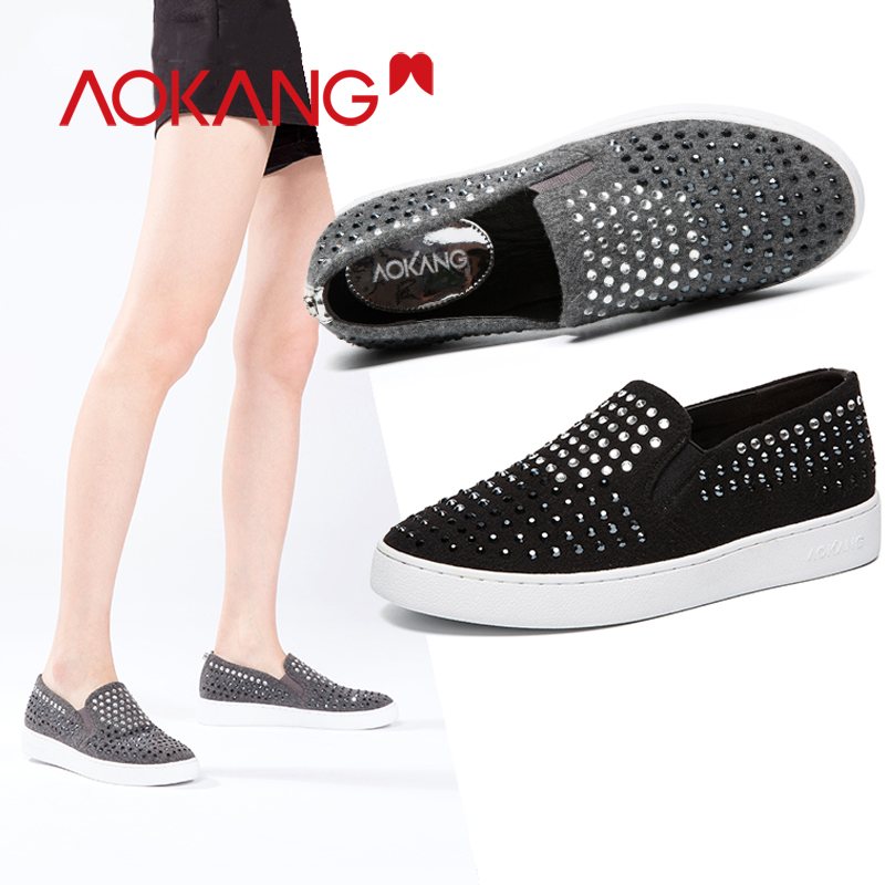 AOKANG Shoes Woman Flats Loafers Slip-on Round toe Ladies Flat Sneakers Shoes Casual Women Shoes Platform Wedges Sneakers ComforAOKANG Shoes Woman Flats Loafers Slip-on Round toe Ladies Flat Sneakers Shoes Casual Women Shoes Platform Wedges Sneakers Comfor