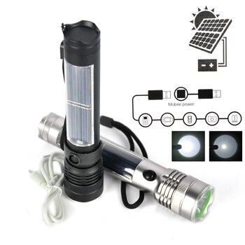 BORUiT Super Bright 3W XPE LED Solar Flashlight USB Recharging Torch Mobile Power Bank Flash Light Outdoor Camping Lantern 3