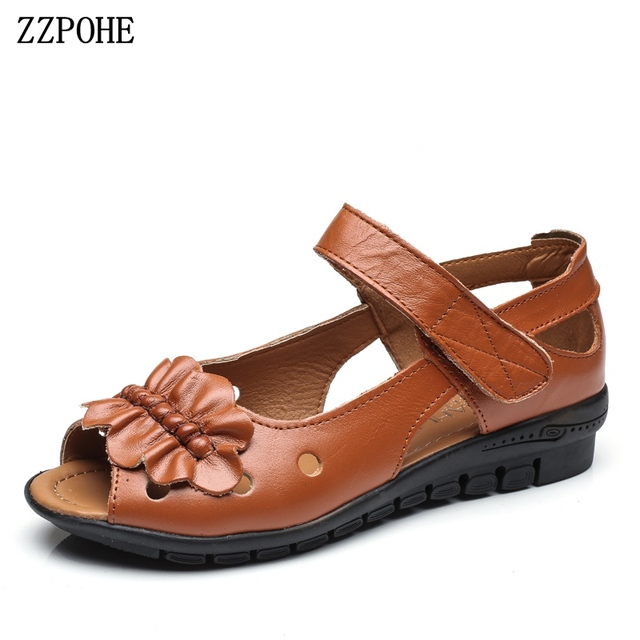 9b1306dc81db ZZPOHE 2018 Summer Women Shoes Ladies Soft Comfortable Genuine Leather  Casual Flat Sandals Mother Fashion Open Toe Sandals