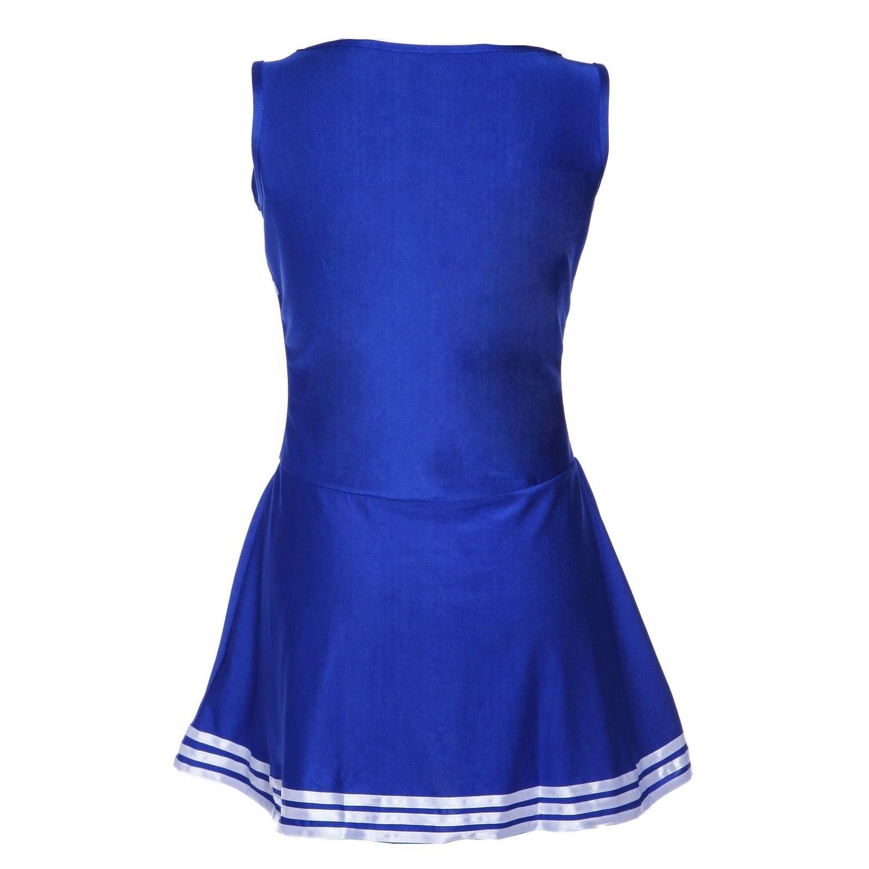 JHO-Pom-pom girl tank top dress cheer leader blue suit costume XL (42-44) school football
