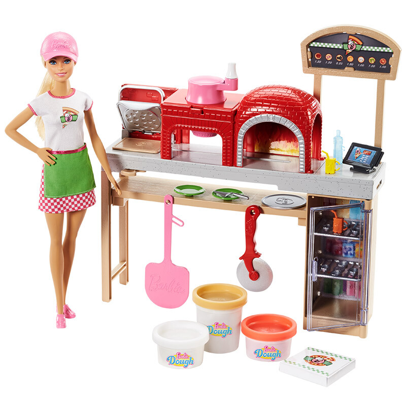 Original Blonde Barbie Pizza Chef Doll  Playset Toys for Girls Toys for Kids Christmas Birthday Gift Genuine Barbie Cooking ToysOriginal Blonde Barbie Pizza Chef Doll  Playset Toys for Girls Toys for Kids Christmas Birthday Gift Genuine Barbie Cooking Toys