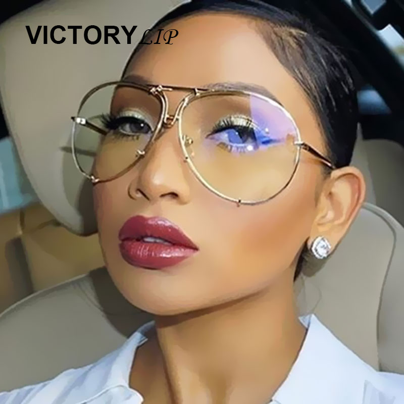 VictoryLip Oversized Sunglasses Men Women Brand Designer Shades Sun Glasses UV400 Male Female Transparent aviation Eyeglasses