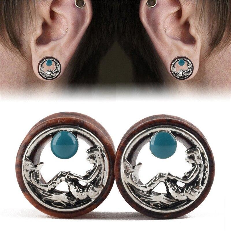 2pcs Wooden Silver Mermaid Ear Plug Gauges Blue Bell Hollow Ear Flesh Tunnel Piercing Plugs Fpr Women Body Jewelry Gifts