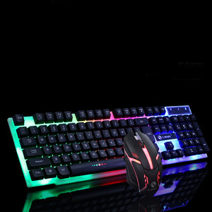 Colorful LED Illuminated Backlit USB Wired PC Rainbow Gaming Keyboard Mouse Set Gamer Gaming Mouse and Keyboard Kit Home Office(China)